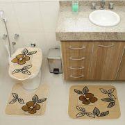 Kit Jogo Tapete Banheiro 3 Peças Royal Luxury Creme 101-4