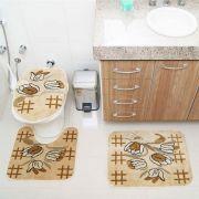 Kit Jogo Tapete Banheiro 3 Peças Royal Luxury Creme 104-4