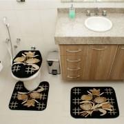 Jogo de Tapete Banheiro Veludo 3 Peças Royal Luxury Preto 104-1 Rayza