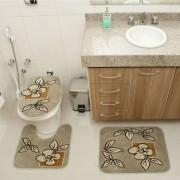 Jogo de Tapete Banheiro Veludo 3 Peças Royal Luxury Verde 101-2 Rayza