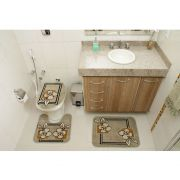 Jogo de Tapete Banheiro Veludo 3 Peças Royal Luxury Verde 103-2 Rayza