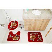 Kit Jogo Tapete Banheiro 3 Peças Royal Luxury Vermelho 101-6