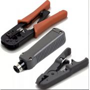 Kit Profissional Alicate Crimpar Decapa Cabo Rj45 Punch Down HT-568R HY-324 HY-501A