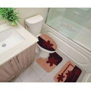 Kit Tapete Banheiro 3 Peças 100% Algodão Chade Sultan