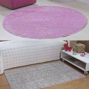 Kit Tapete Classic Redondo 100x100 Rosa Passadeira 50x100 Cinza