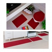 Kit Tapete Cozinha Relevo e Banheiro Vermelho 3 Peças Cada