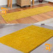 Kit Tapete e Passadeira Classic Amarelo 3 unidades.