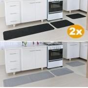 Kit Tapetes De Cozinha 9 Peças Relevo 2 Preto 1 Prata