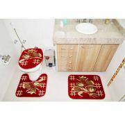 Jogo de Tapete Banheiro Veludo 3 Peças Royal Luxury Vermelho 104-6 Rayza