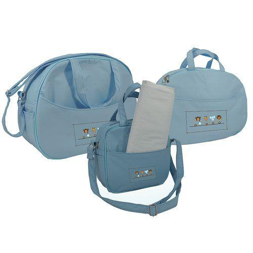 Kit Saida Maternidade Bolsa Mala E Frasqueira Azul Bebe