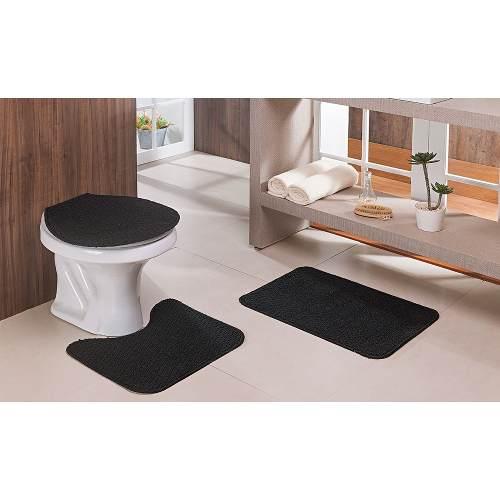 Jogo Tapete Banheiro Relevo 3 Peças Preto
