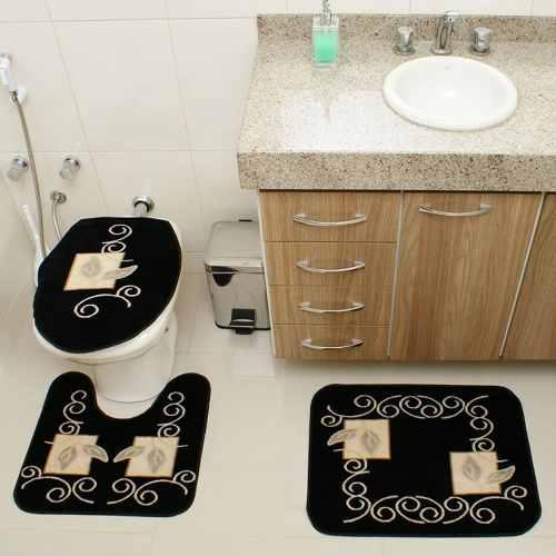 Kit Jogo Tapete Banheiro 3 Peças Royal Luxury Preto 102-1