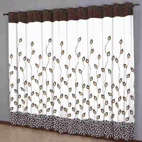 Cortina Sala 220 x 240 cm Estampada Folhas Chocolate