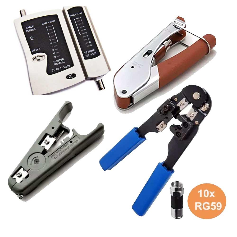 Alicate Crimpa Decapa Coaxial Rj45 Rg6 Rg59 Testador Rj45 E 10 RG59