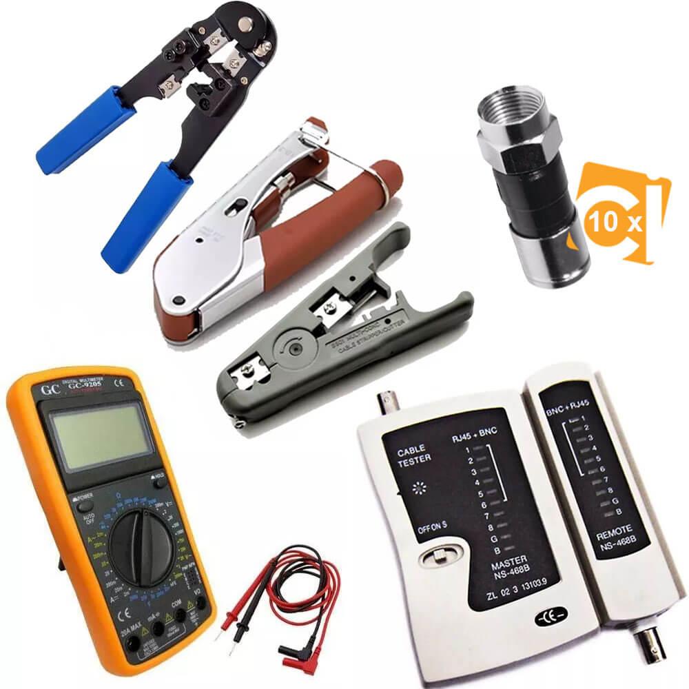 Alicate Crimpa Decapa Rg6 Rg59 Testador Rj45 Multímetro 9205 10 Rg59