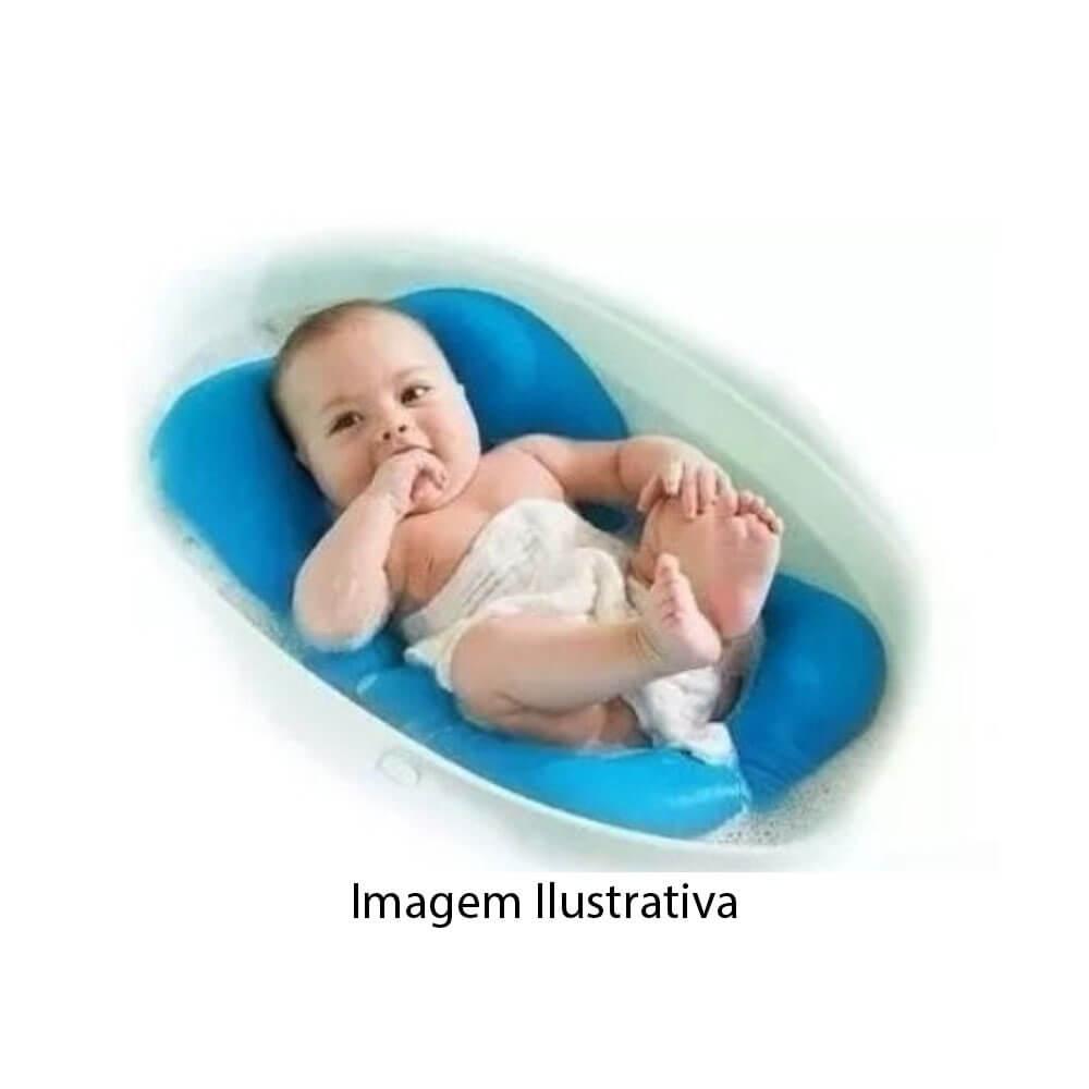 Almofada Para Banho Bebê Banheira Azul Sapeca Kids