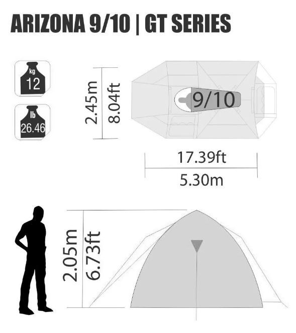Barraca Iglu Sobre Teto Camping Arizona Gt 9 / 10 Pessoas Nautika