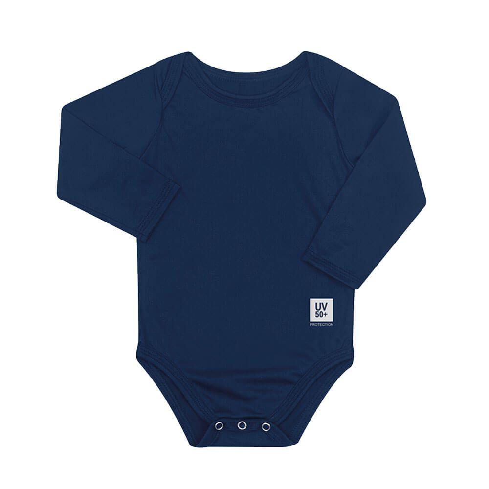 Body para Bebê com Proteção Solar UV 50+ Manga Longa Azul Marinho Vitho
