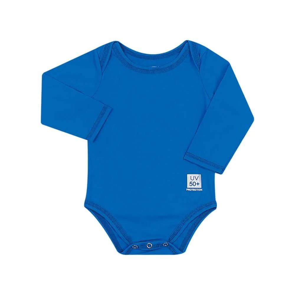 Body para Bebê com Proteção Solar UV 50+ Manga Longa Azul Aquarela Vitho