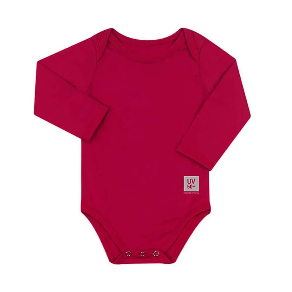 Body para Bebê com Proteção Solar UV 50+ Manga Longa Pink Vitho