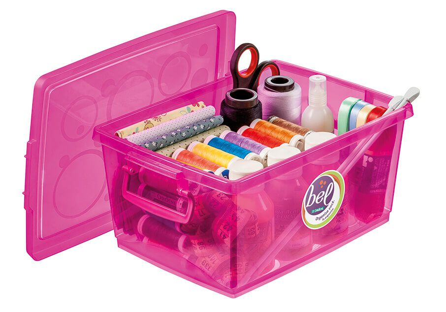 Caixa Organizadora Com Trava 15 L Pink Ordene