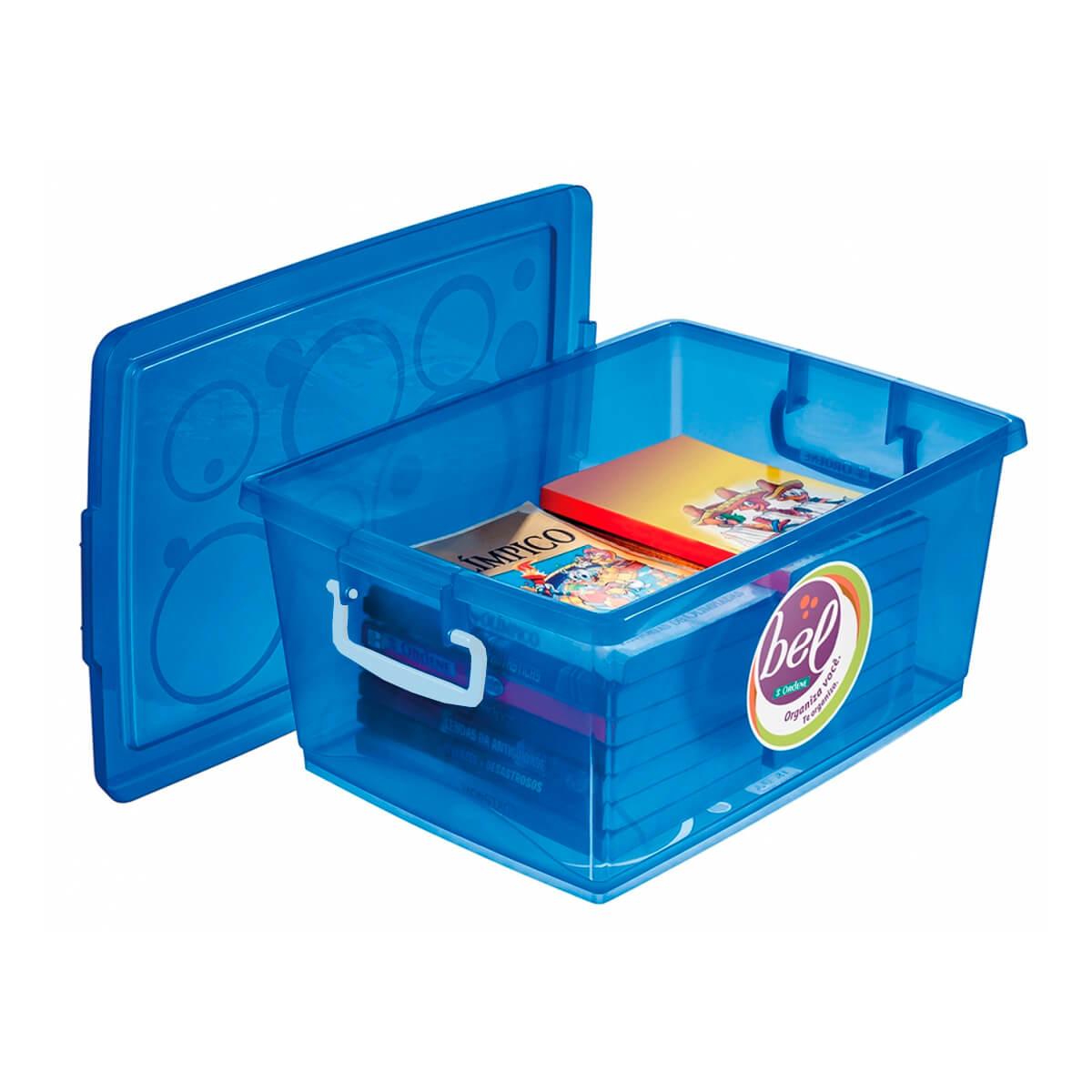 Caixa Organizadora Com Trava 15 L Azul Ordene