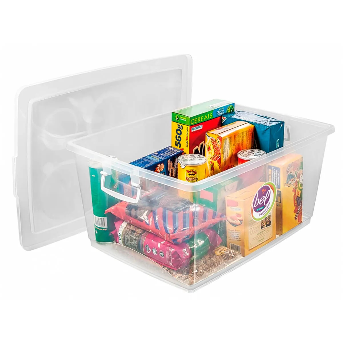 Caixa Organizadora Com Trava 30 L Cristal Ordene
