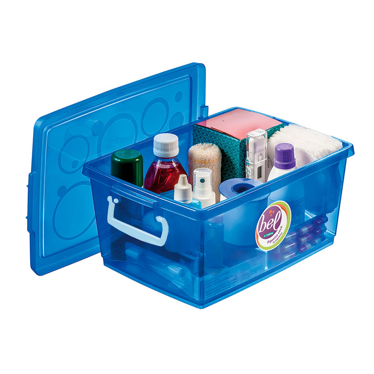 Caixa Organizadora Com Trava 4 L Azul Ordene