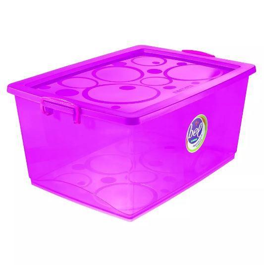 Caixa Organizadora Com Trava 60l Pink - Ordene