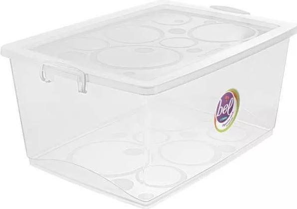 Caixa Organizadora Cristal 60 litros Bel 63 x 41 x 30,5 cm com trava ORDENE OR80900