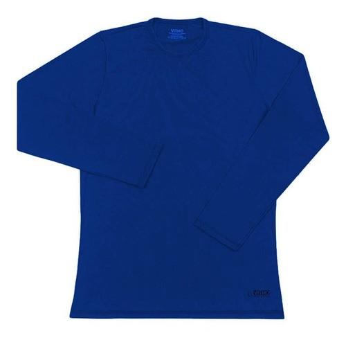 Camiseta Feminina com Proteção Solar UV 50+ Manga Longa Azul Aquarela Vitho