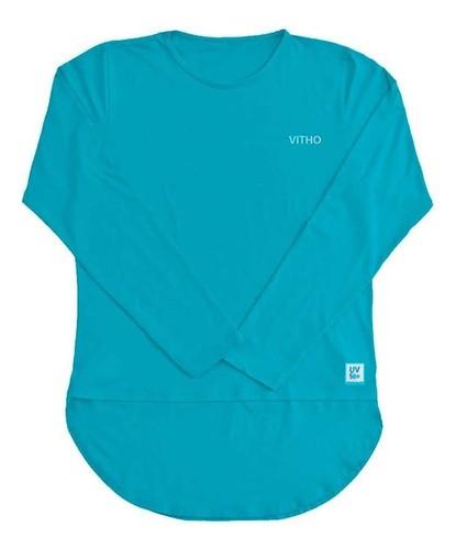 Camiseta Feminina com Proteção Solar UV 50+ Manga Longa Mullet Azul Caribe Vitho