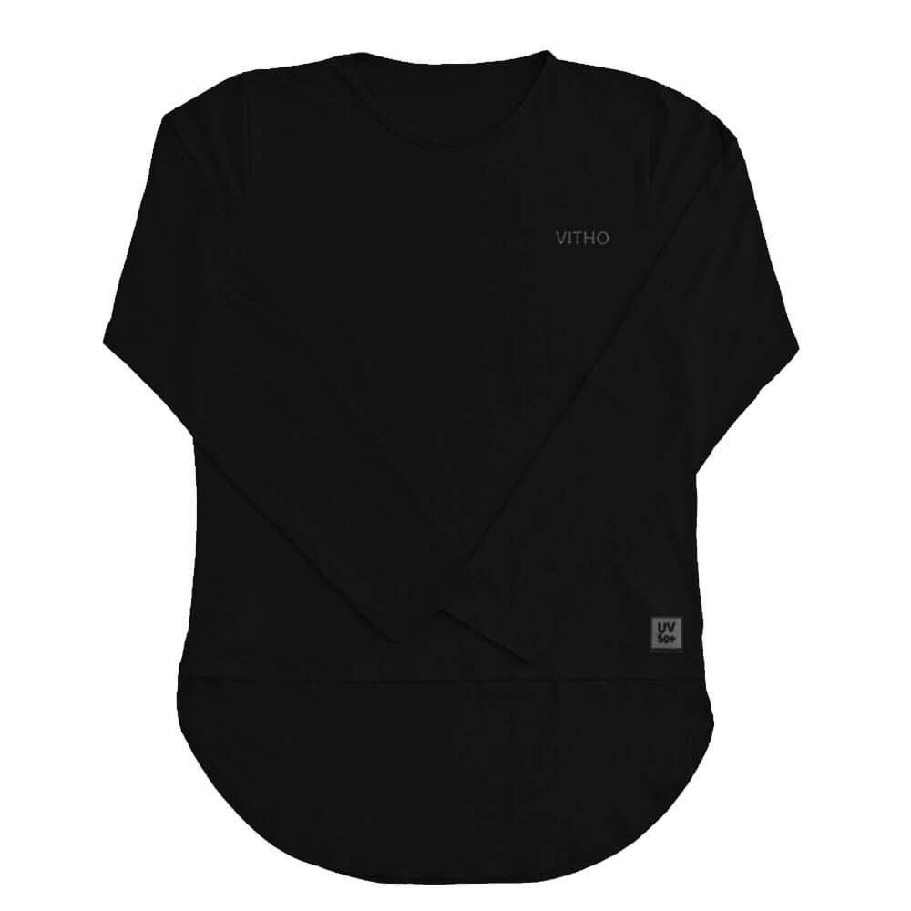 Camiseta Feminina com Proteção Solar UV 50+ Manga Longa Mullet Preto Vitho