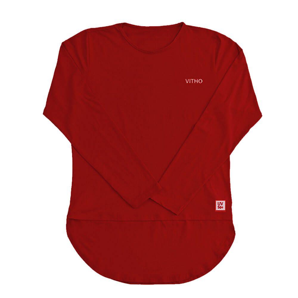 Camiseta Feminina com Proteção Solar UV 50+ Manga Longa Mullet Vermelho Lollipop Vitho