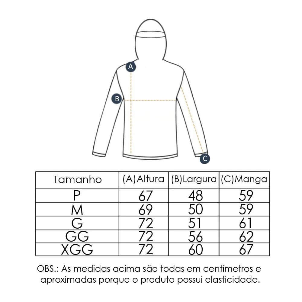 Camiseta Masculina com Proteção Solar UV 50+ Com Capuz Azul Marinho Vitho