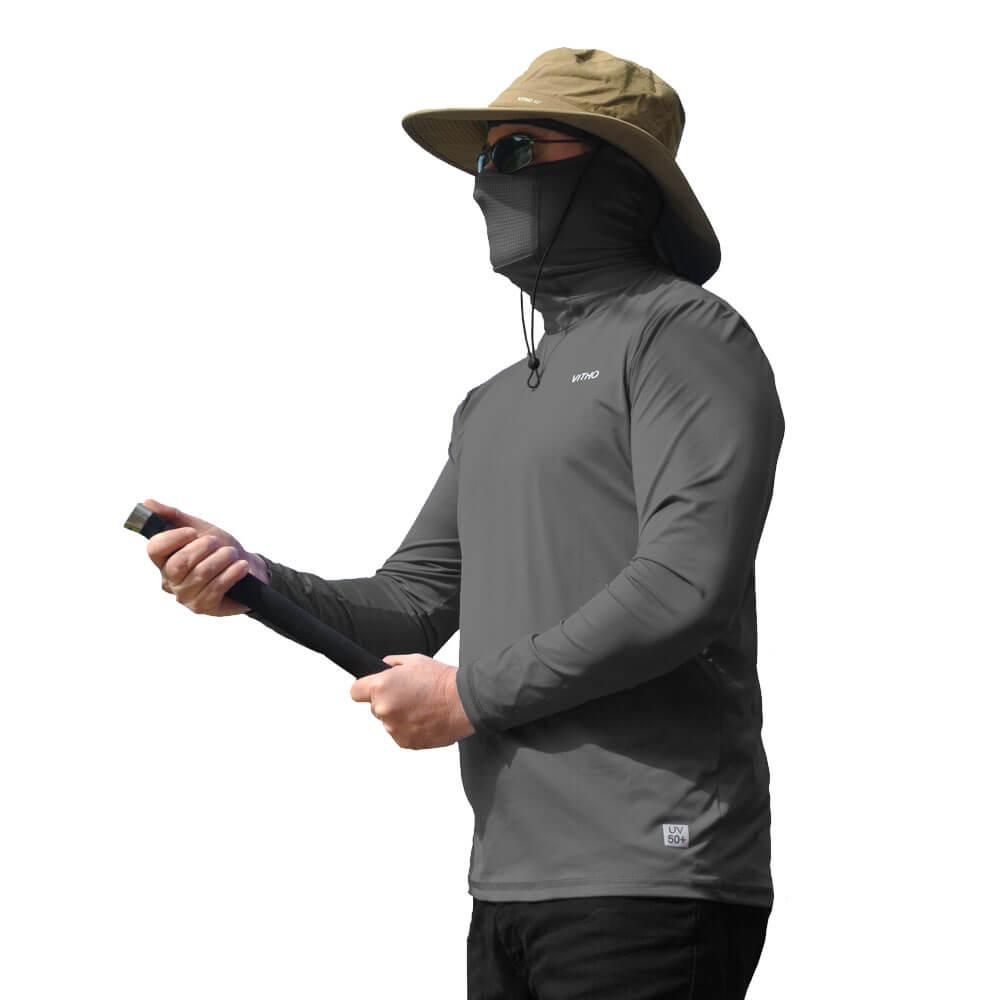 Camiseta Masculina com Proteção Solar UV 50+ Com Capuz Cinza Rocha Vitho