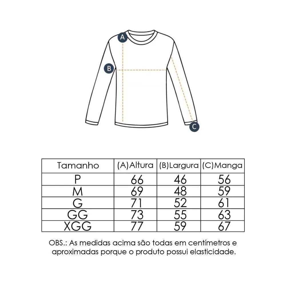 Camiseta Masculina com Proteção Solar UV 50+ Manga Longa Preto Vitho