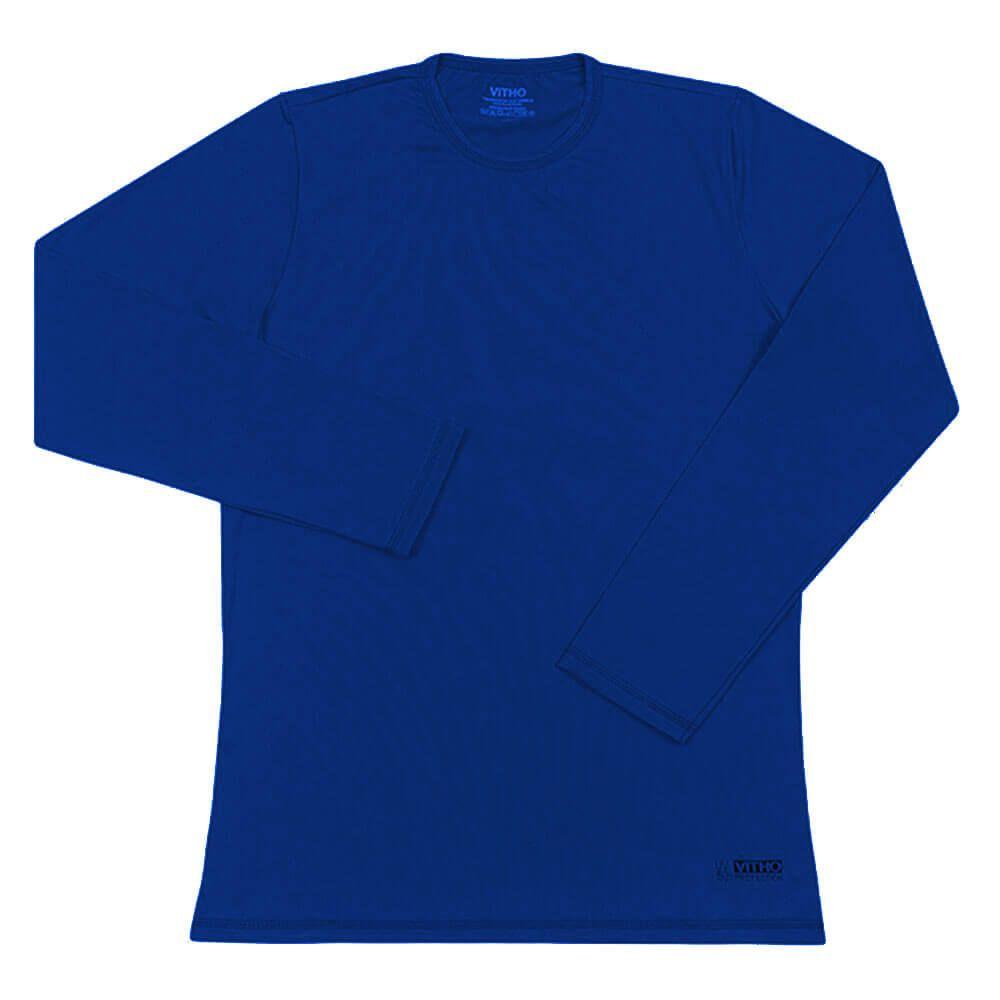 Camiseta Proteção Solar UV 50+ Feminina Manga Longa Azul Aquarela Vitho