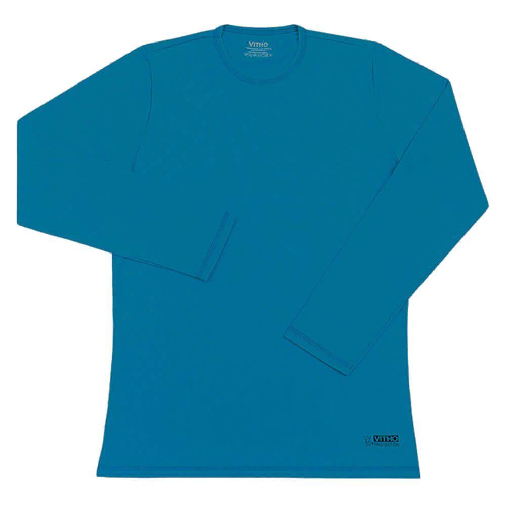 Camiseta Feminina com Proteção Solar UV 50+ Manga Longa Azul Caribe Vitho