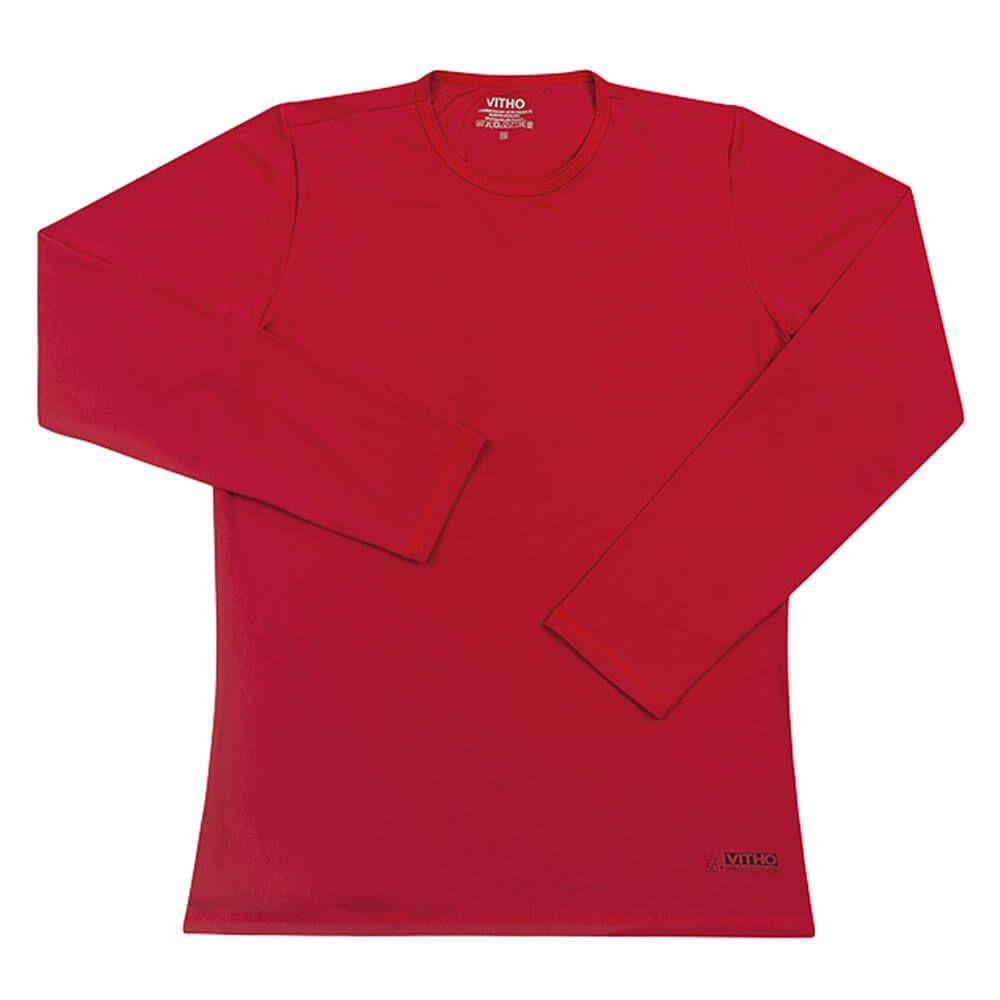 Camiseta Feminina com Proteção Solar UV 50+ Manga Longa Lollipop Vermelho Vitho