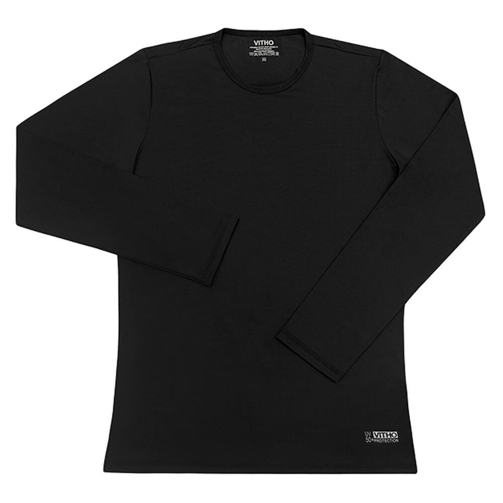Camiseta Proteção Solar UV 50+ Feminina Manga Longa Preto Vitho