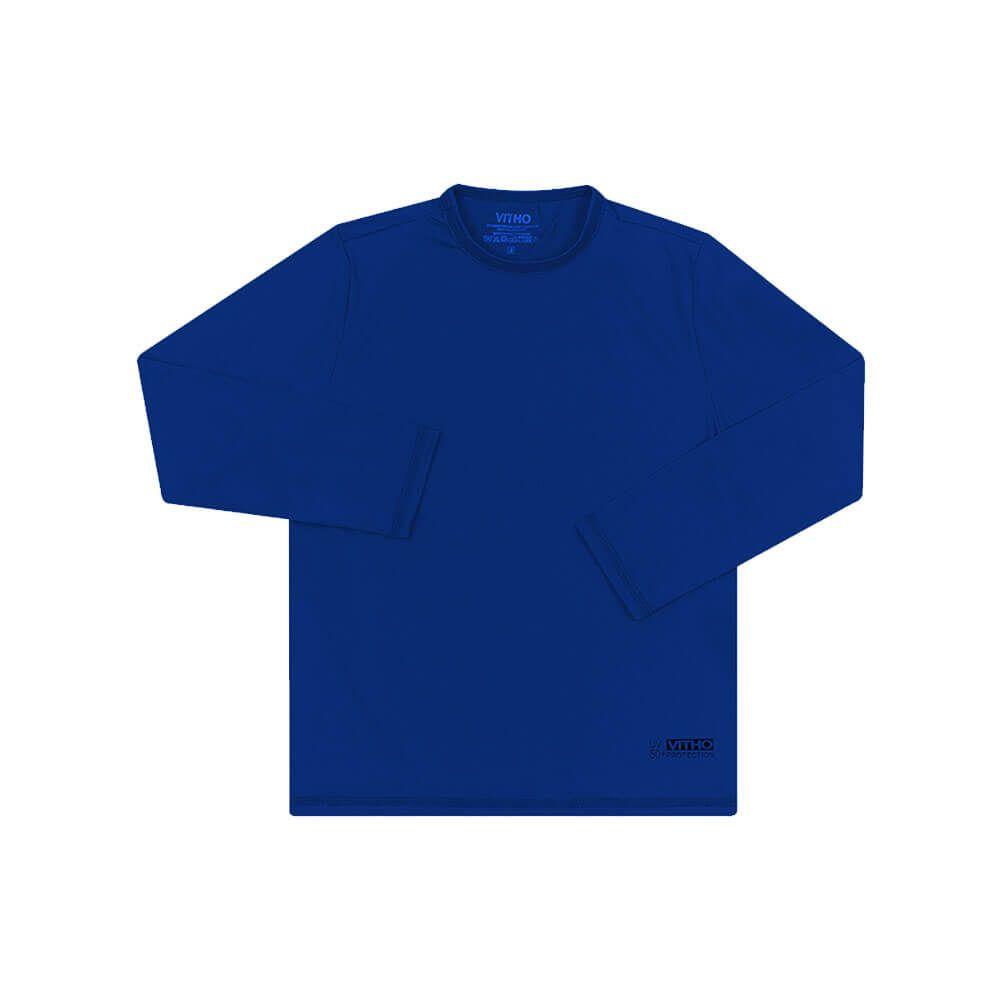 Camiseta Infantil com Proteção Solar UV 50+ Unissex Manga Longa Azul Aquarela Vitho