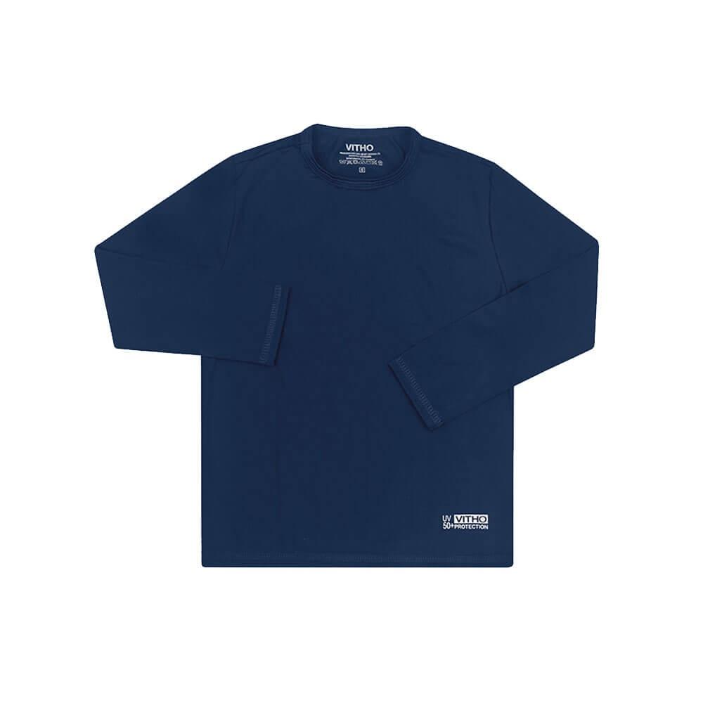 Camiseta Infantil com Proteção Solar UV 50+ Unissex Manga Longa Azul Marinho Vitho