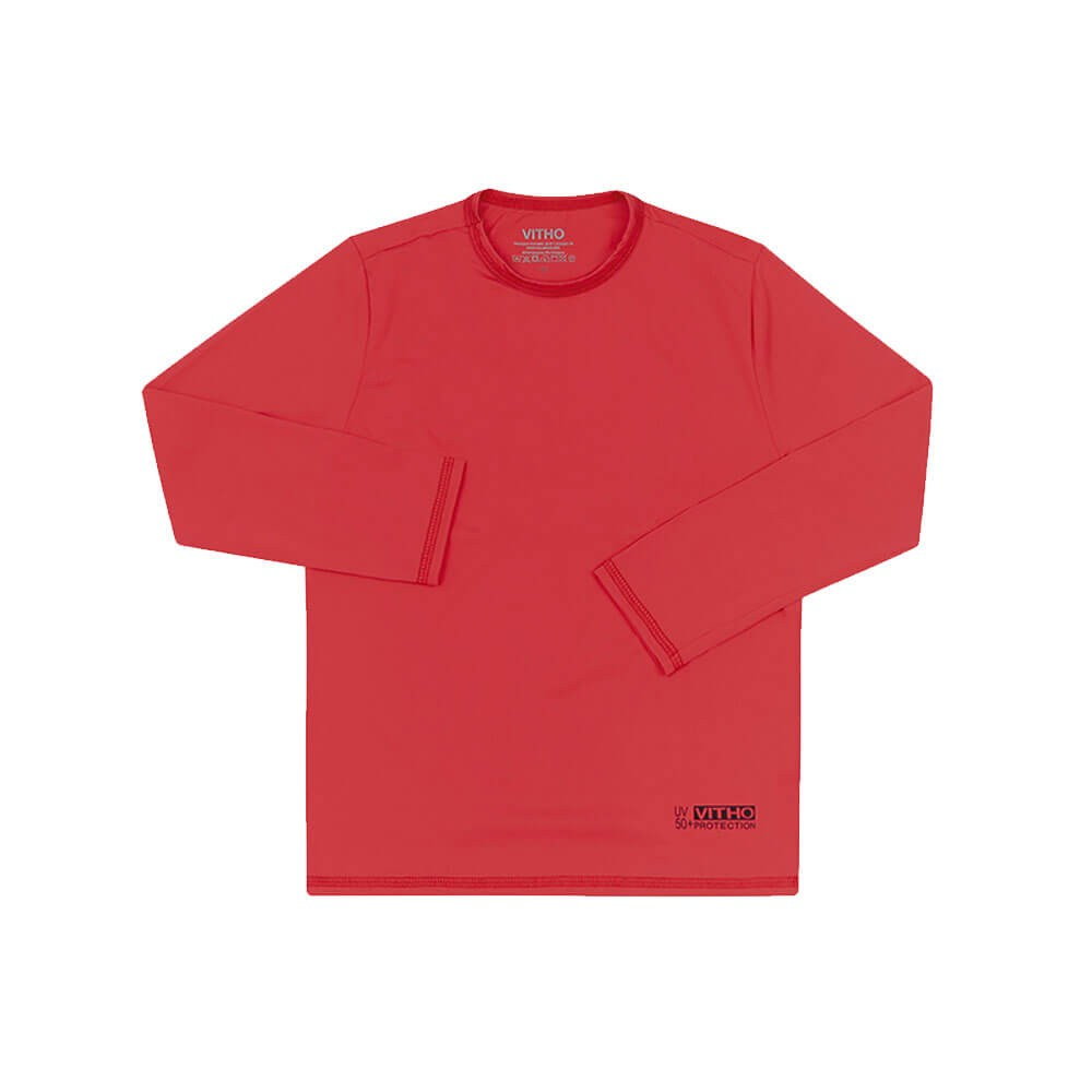 Camiseta Infantil com Proteção Solar UV 50+ Unissex Manga Longa Orange Vitho
