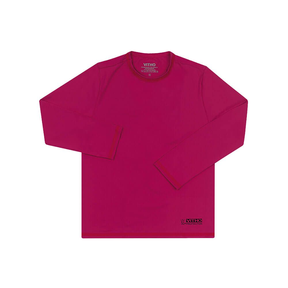 Camiseta Infantil com Proteção Solar UV 50+ Unissex Manga Longa Rosa Pink Vitho