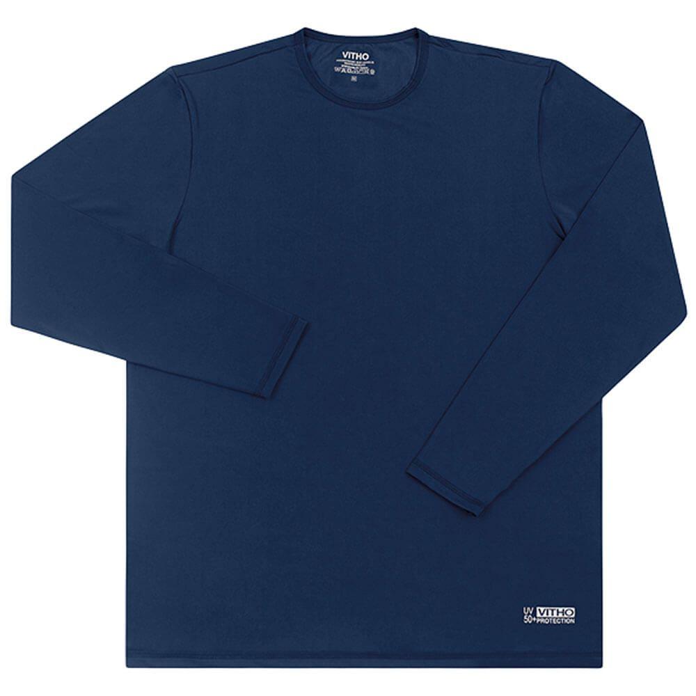 Camiseta Masculina com Proteção Solar UV 50+ Manga Longa Azul Marinho Vitho