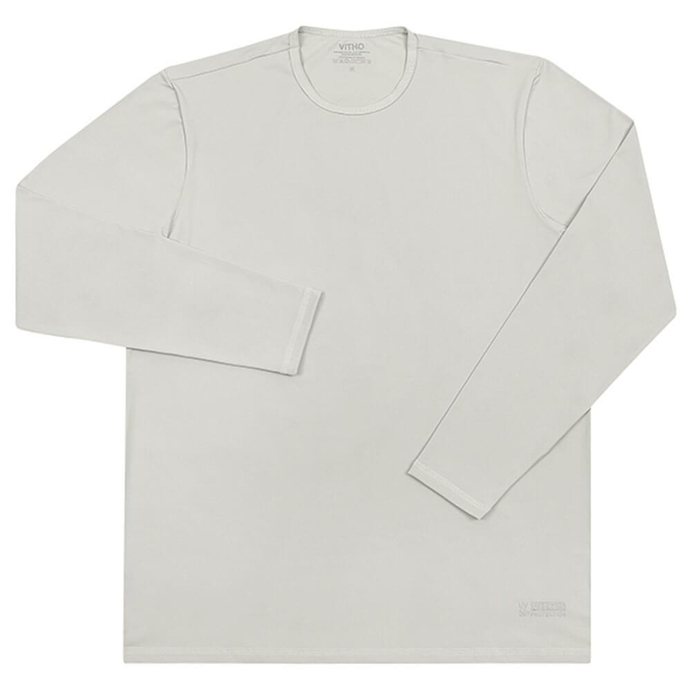 Camiseta Masculina com Proteção Solar UV 50+ Manga Longa Prata Vitho