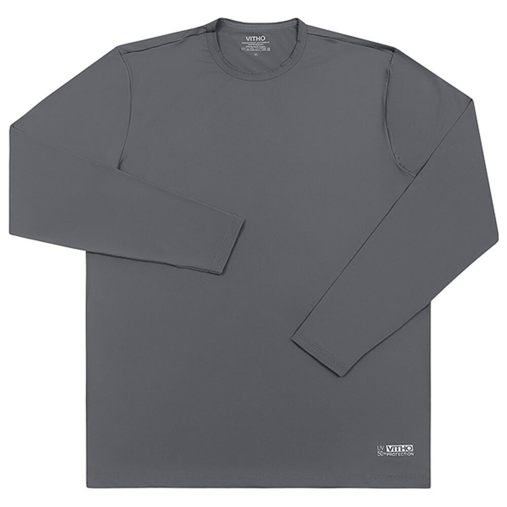 Camiseta Masculina com Proteção Solar UV 50+ Manga Longa Rocha Cinza Vitho
