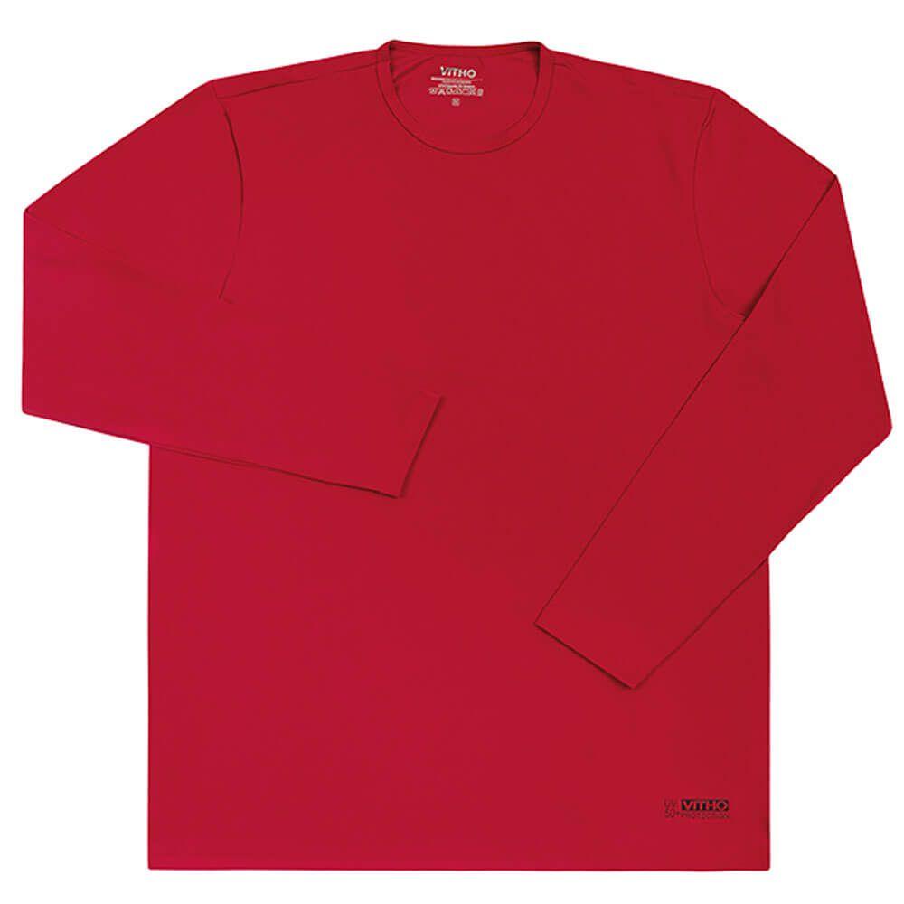 Camiseta Masculina com Proteção Solar UV 50+ Manga Longa Vermelho Lollipop Vitho