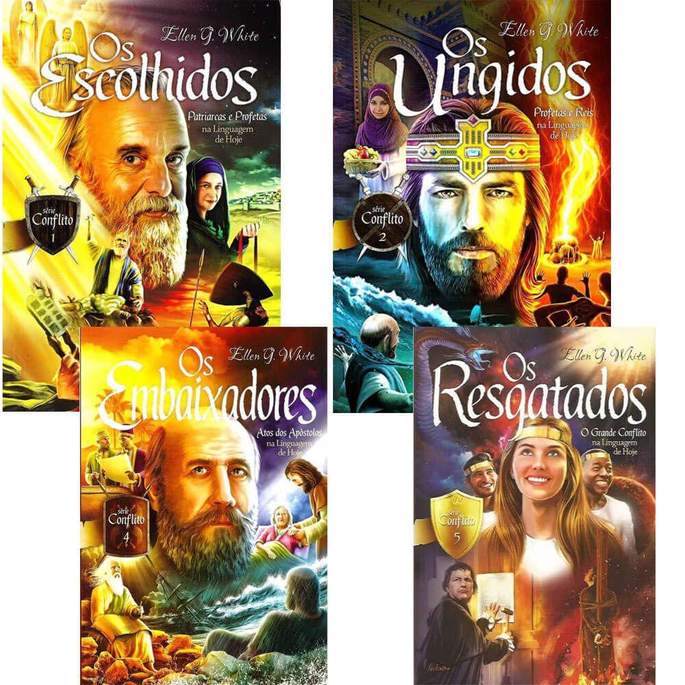 Coleção de Livros Serie Conflito Ellen G. White Vl 1, 2, 4 e 5.